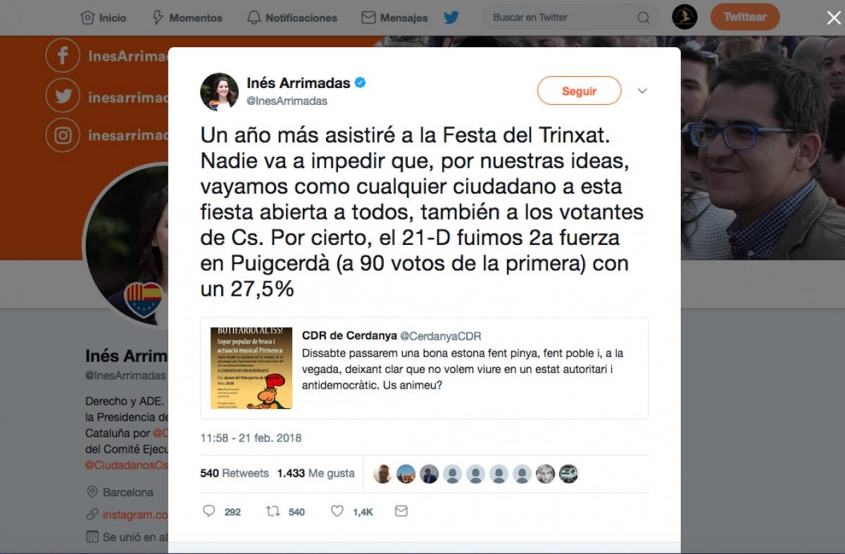 Missatge en el compte de twitter d'Inés Arrimadas