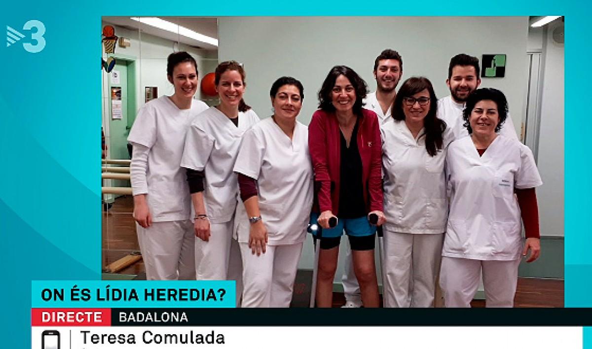 Lídia Heredia, amb l'equip de rehabilitació