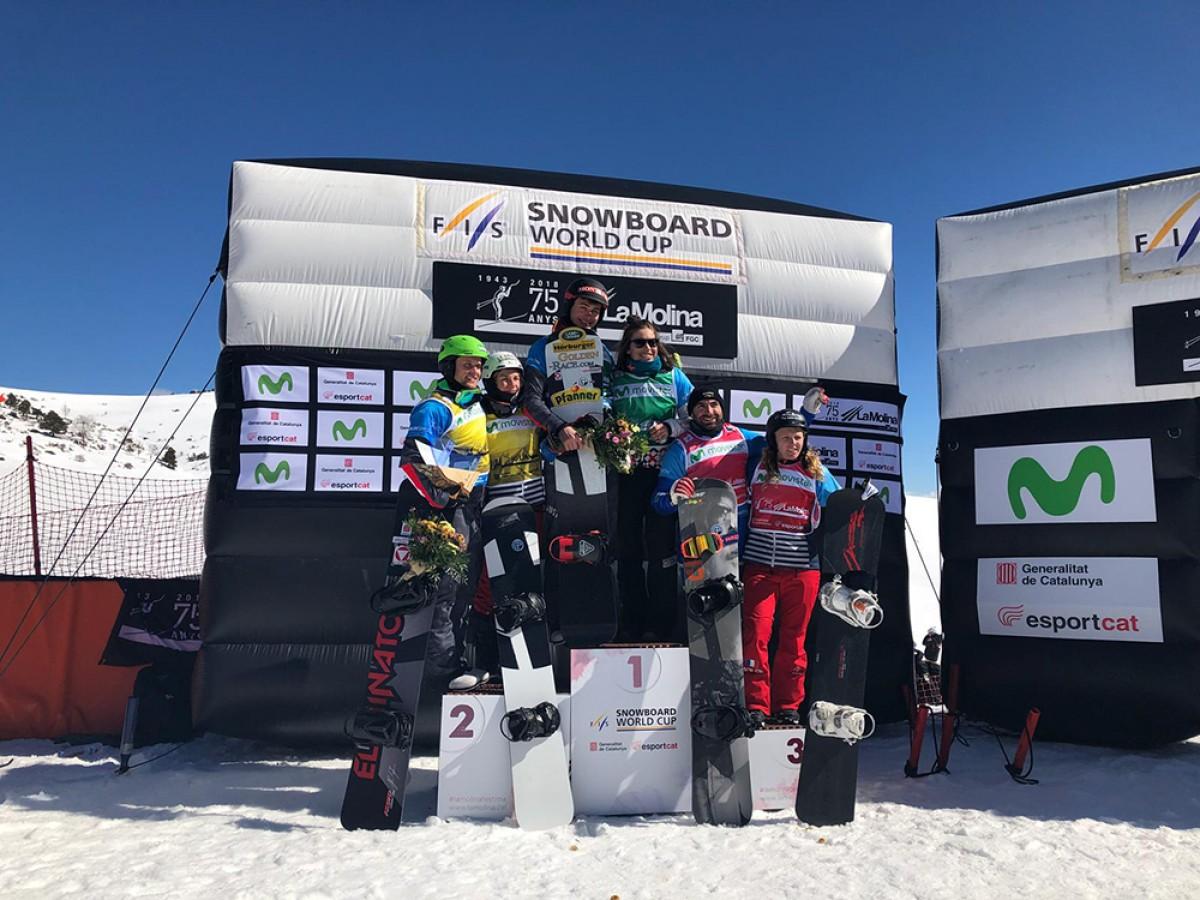 Els podis de la Copa del Mon snowboard cross celebrada a La Molina aquest dissabte