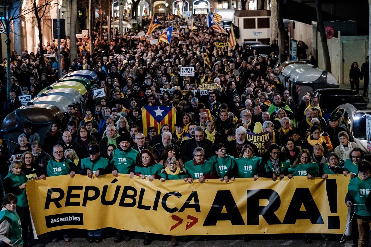 Manifestació «Sí a la república i al govern legítim» el 2018.