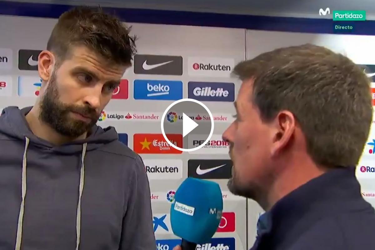 El defensa del Barça responent a una pregunta per a les càmeres de Movistar+