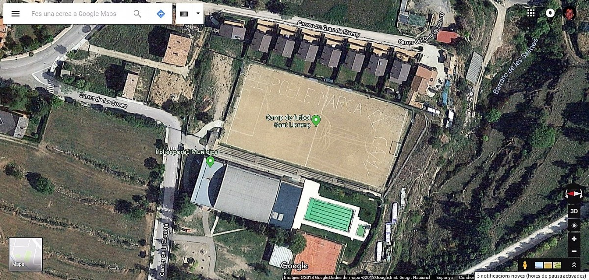 Imatge des del satèl·lit del camp de futbol de Sant Llorenç de Morunys