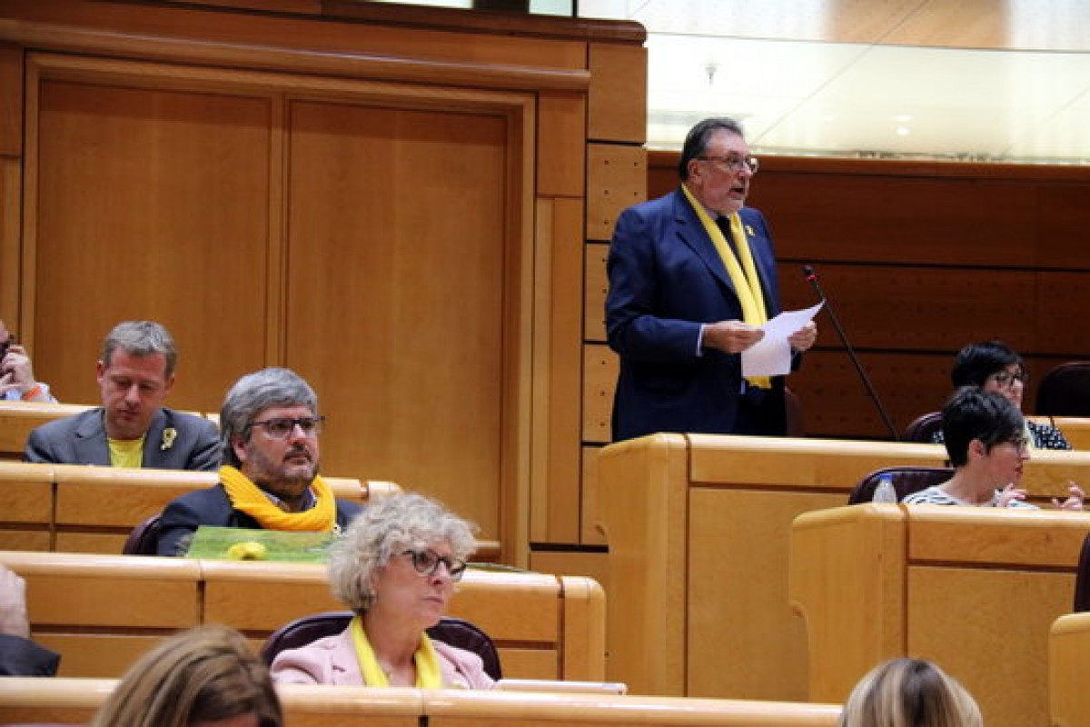 Josep Lluís Cleries (JxCat) amb una bufanda groga al Senat