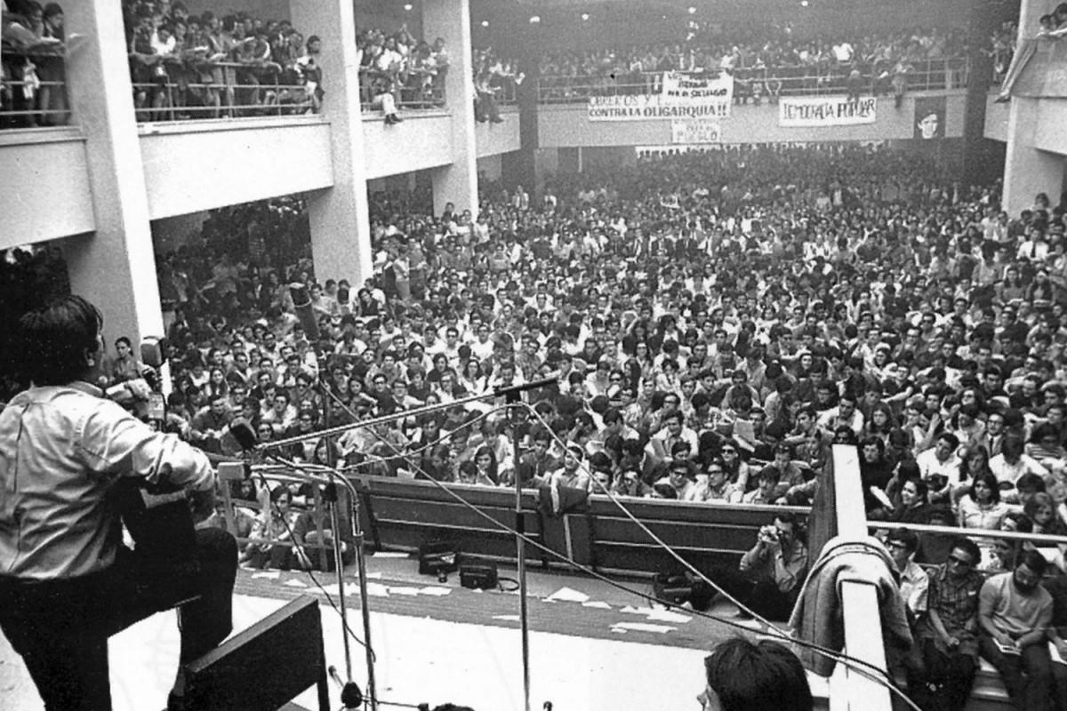 Raimon  a la facultat d'Econòmiques de Madrid el maig de 1968