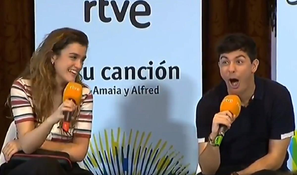 Amaia i Alfred en una roda de premsa sobre Eurovisió.
