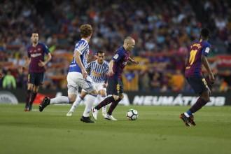 El Barça ret el millor homenatge a Iniesta sumant l'última victòria de la lliga (1-0)