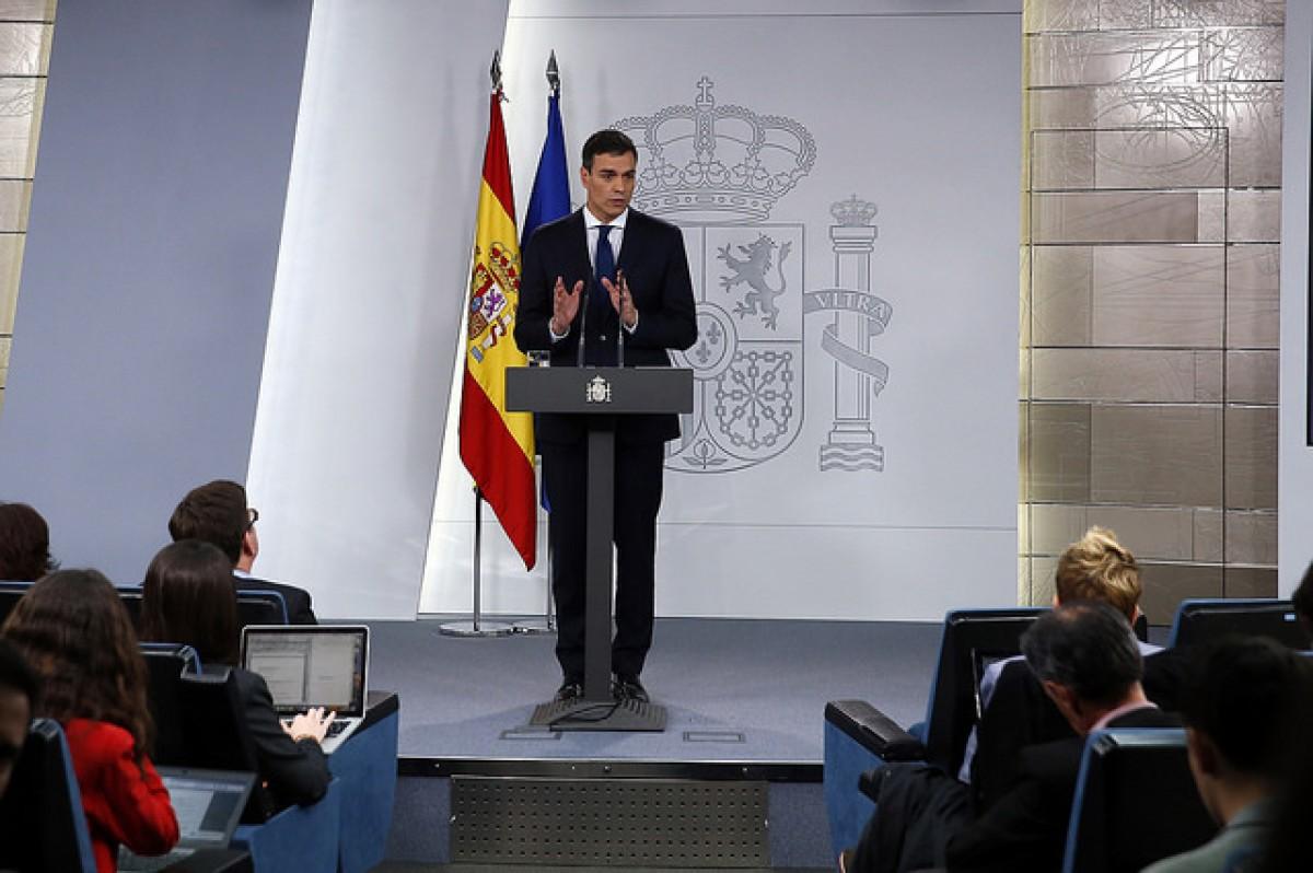 Pedro Sánchez, en la roda de premsa a Moncloa en què ha anunciat la composició del seu govern