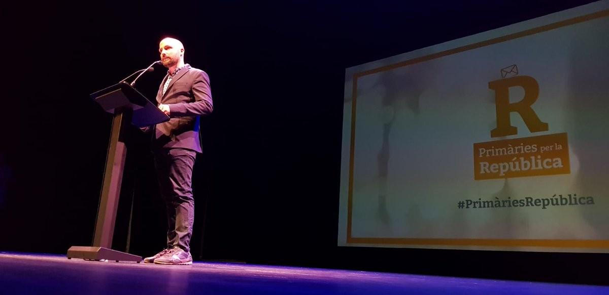 Jordi Graupera, en l'acte de Primàries per la República a Granollers