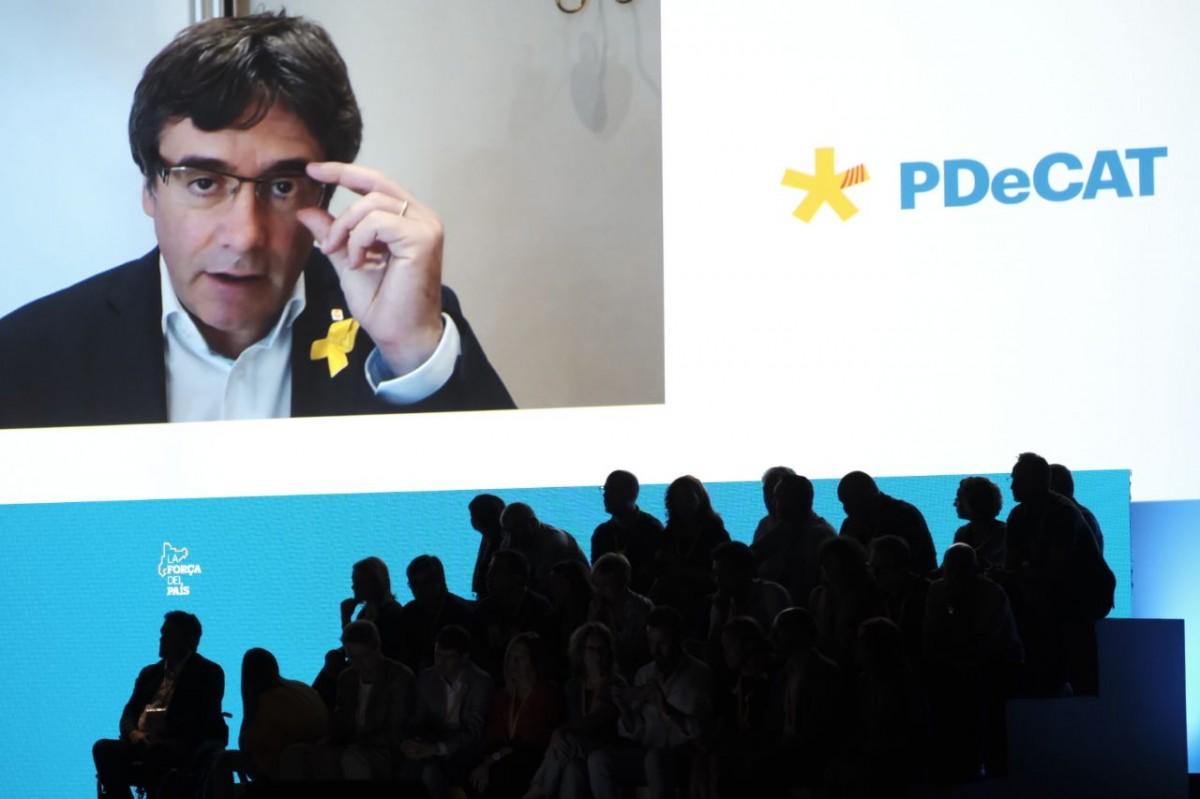 Carles Puigdemont, en una assemblea del PDECat