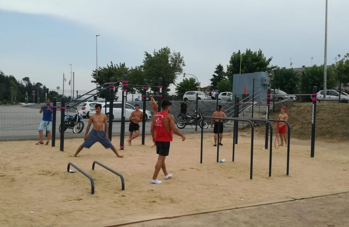 Durant la inauguració de l'equipament a la zona esportiva del Despujol el passat 20 de juliol.