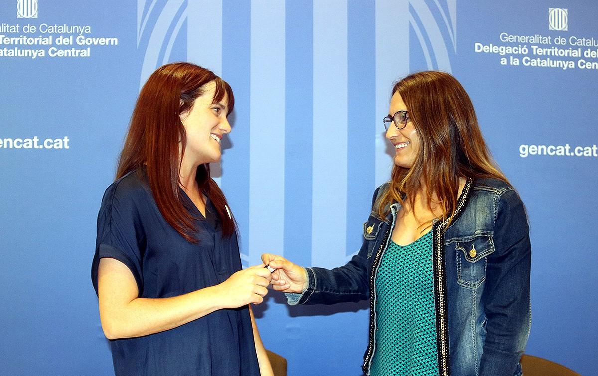 Alba Camps i Laura Vilagrà durant la roda de premsa de traspàs de competències.