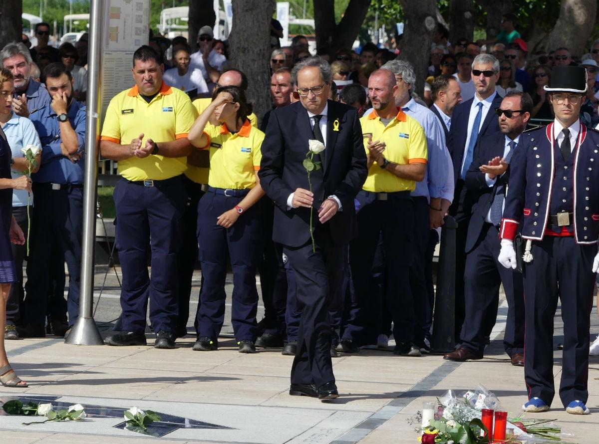 El president de la Generalitat, Quim Torra, durant l'acte a Cambrils l'any passat.