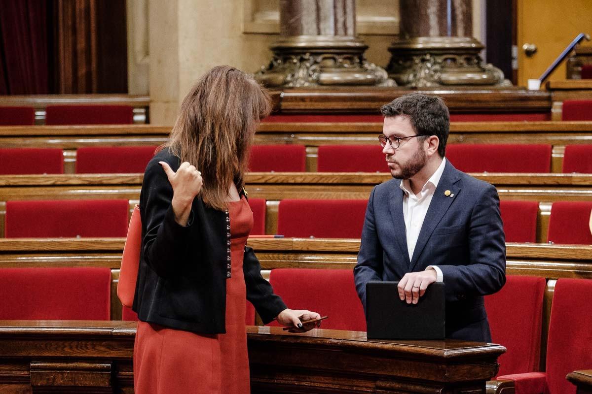Laura Borràs i Pere Aragonès al debat de política general