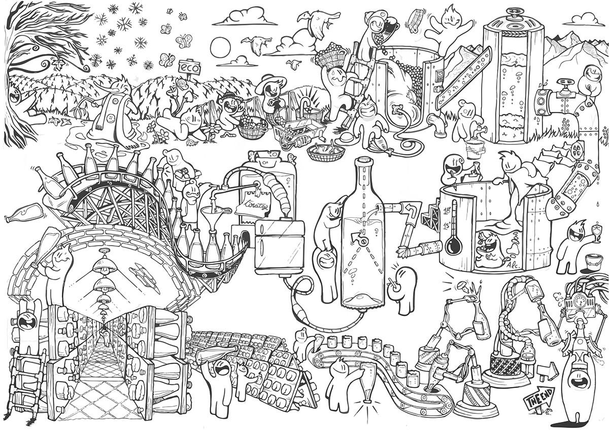 Il·lustració de Ricard Bosch per encarrèg de Vilarnau.