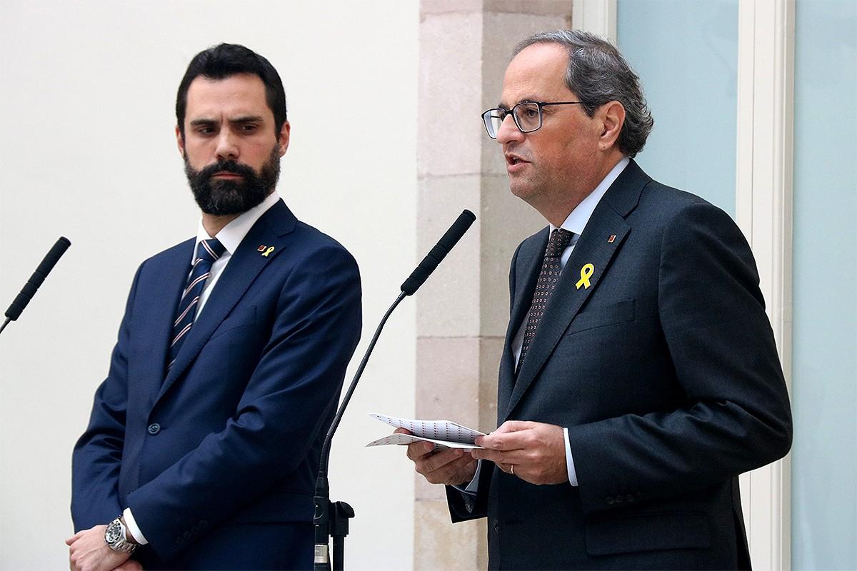 Torrent i Torra, en un acte conjunt al Parlament.