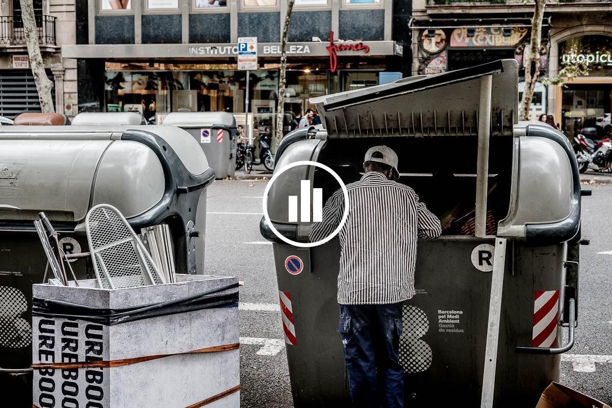 Un home busca ferralla en un contenidor del centre de Barcelona.