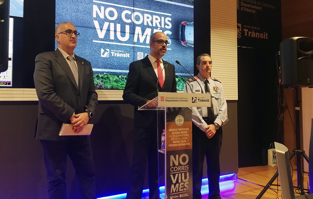 Gendrau, Buch i Molinero en la presentació de la nova campanya per reduir la velocitat