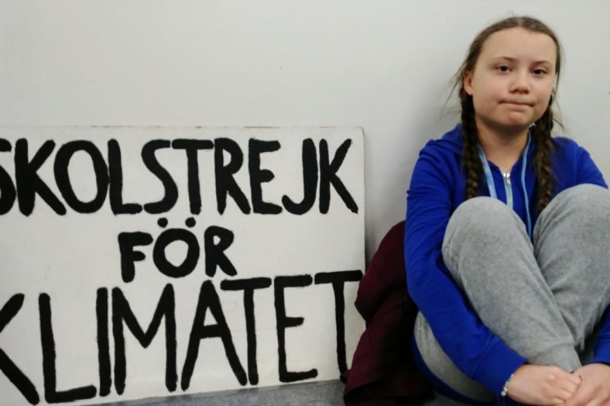Greta Thunberg, davant del Parlament suec