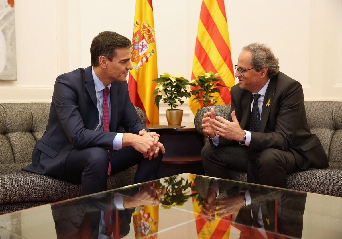 Pedro Sánchez i Quim Torra, reunits fa pràcticament un any a Pedralbes