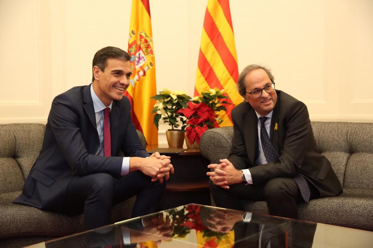 Quim Torra i Pedro Sánchez, el 20 de desembre del 2018 al Palau de Pedralbes