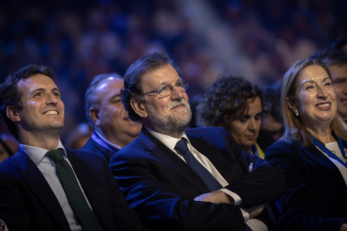 Pablo Casado i Mariano Rajoy en un acte del PP.
