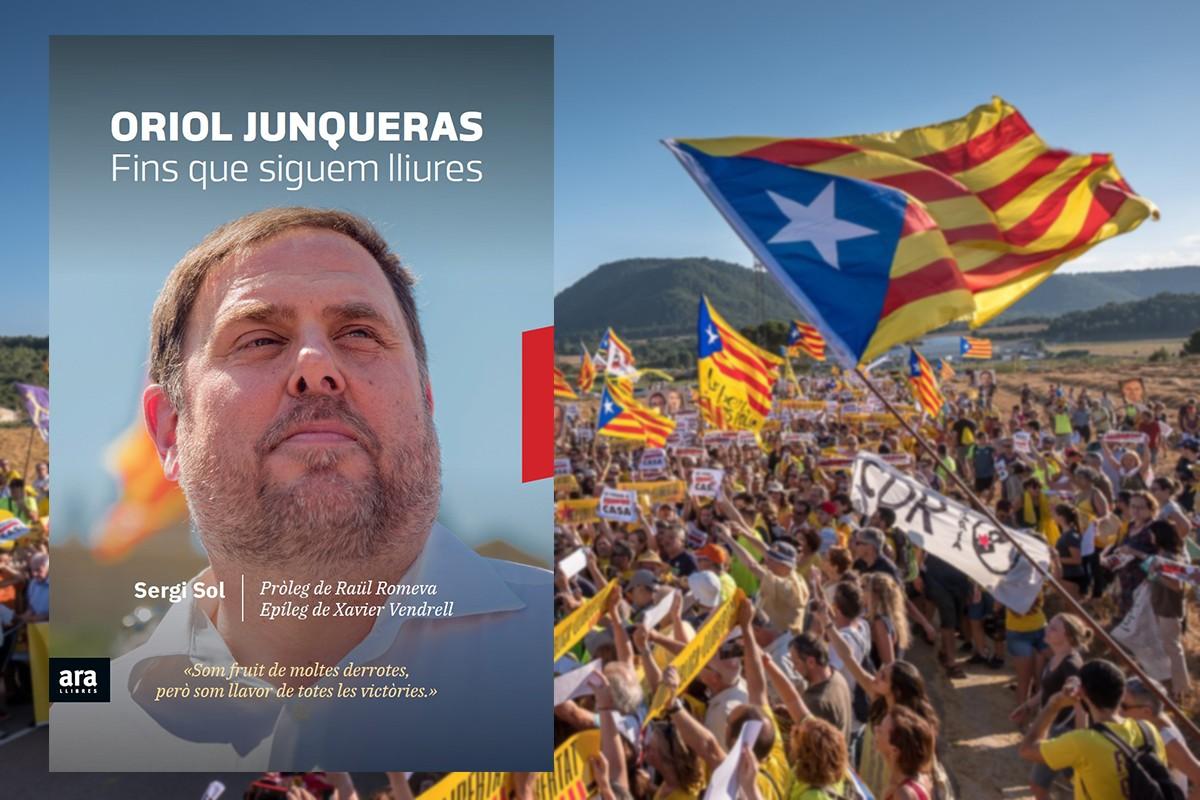 Portada del llibre de Sergi Sol damunt la imatge d'una manifestació a Lledoners