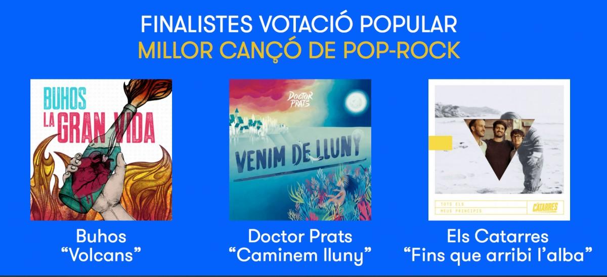 Nominats a millor cançó de pop-rock del 2018