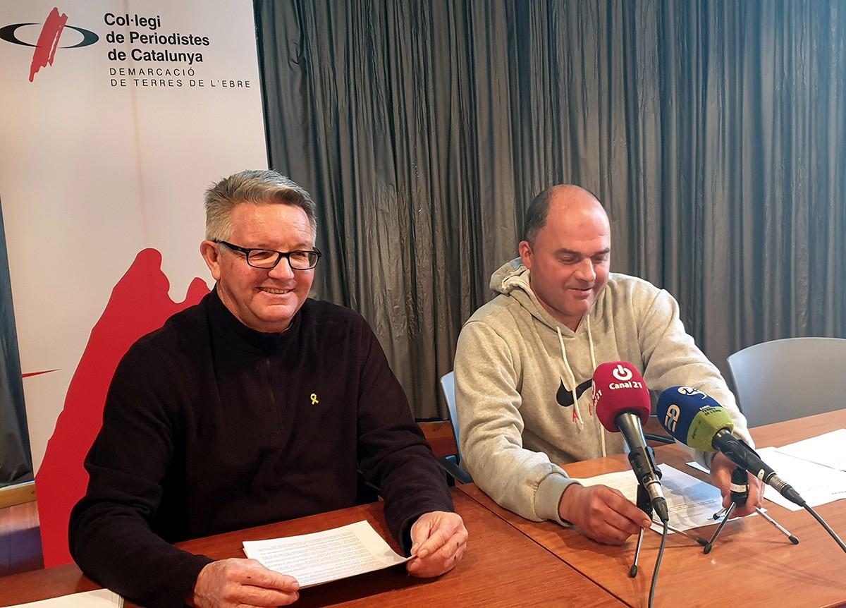 Un dels responsables d'Unió de Pagesos a les Terres de l'Ebre, Rafel Verdiell i Carlos Roig, responsable del sector dels cítrics del sindicat agrari.