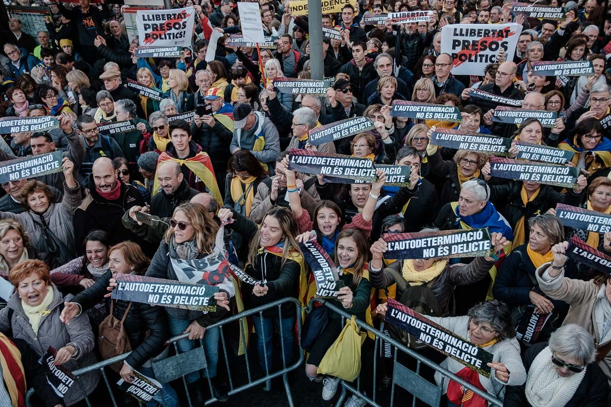 Manifestació massiva contra el judici de l'1-O a la Gran Via, en una imatge d'arxiu