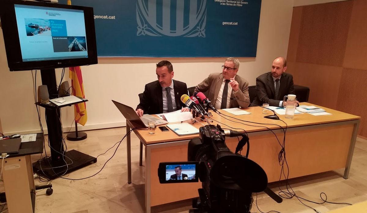 Un moment de la roda de premsa de Ports, a Tortosa.