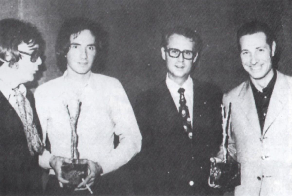 Àngel Casas, LLuís Llach, Josep Maria Bachs i Claudi Martí al Gran Premi del Disc de Lloret