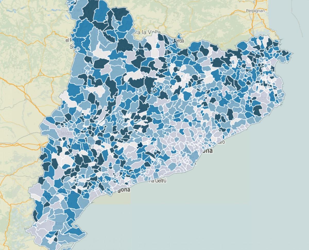 Intensitat del vot a CiU a les municipals del 2015.