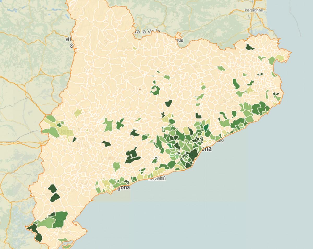 Intensitat del vot a ICV/comuns a les municipals del 2015.