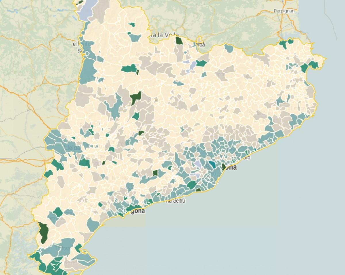 Intensitat del vot al PP a les municipals del 2015.
