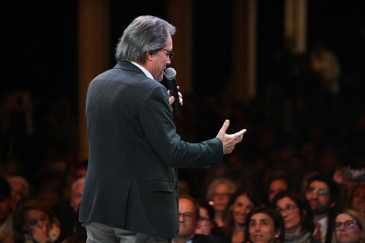 Artur Mas, en l'arrencada de campanya de JxCat de l'abril passat