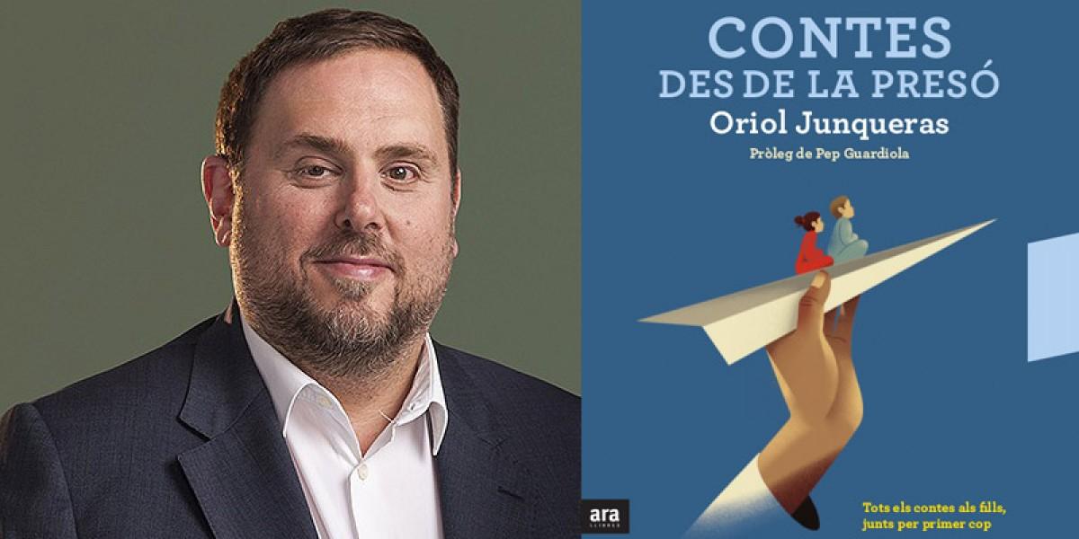 Oriol Junqueras amb la portada del seu llibre de contes