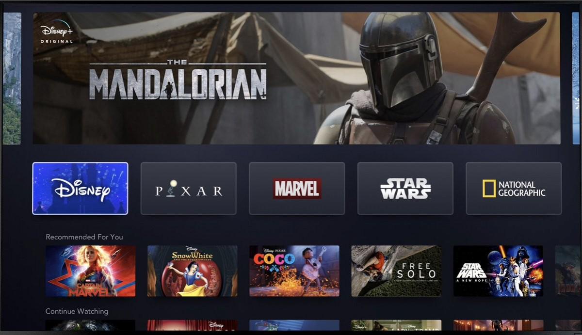 L'aspecte de la nova plataforma de sèries, Disney Plus