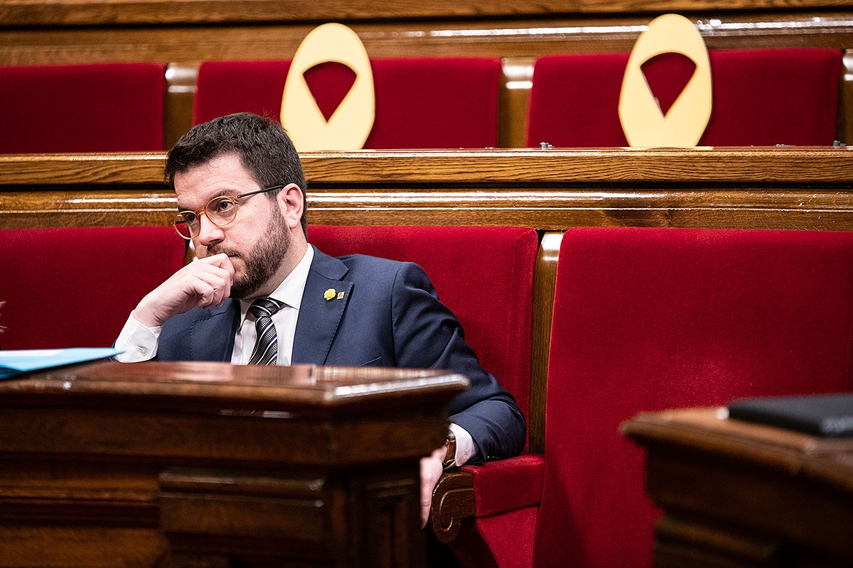 Pere Aragonès, en un ple del Parlament.