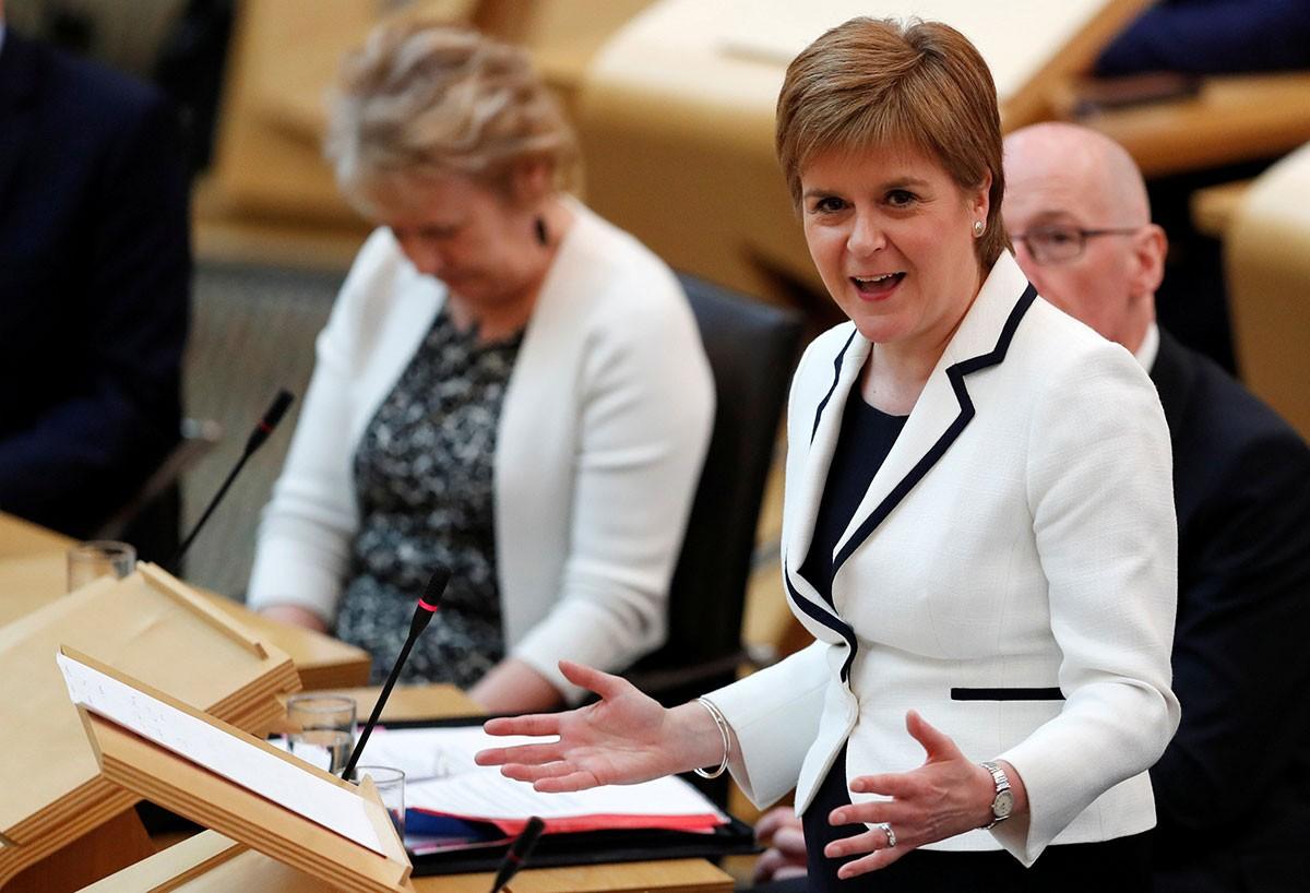 La primera ministra d'Escòcia, Nicola Sturgeon, al Parlament d'Edimburg