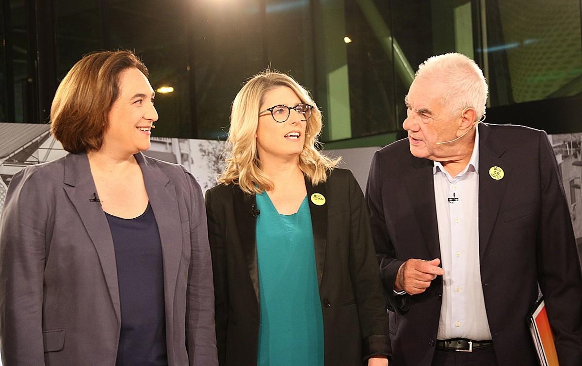 Ernest Maragall i Ada Colau amb Elsa Artadi al debat de Betevé