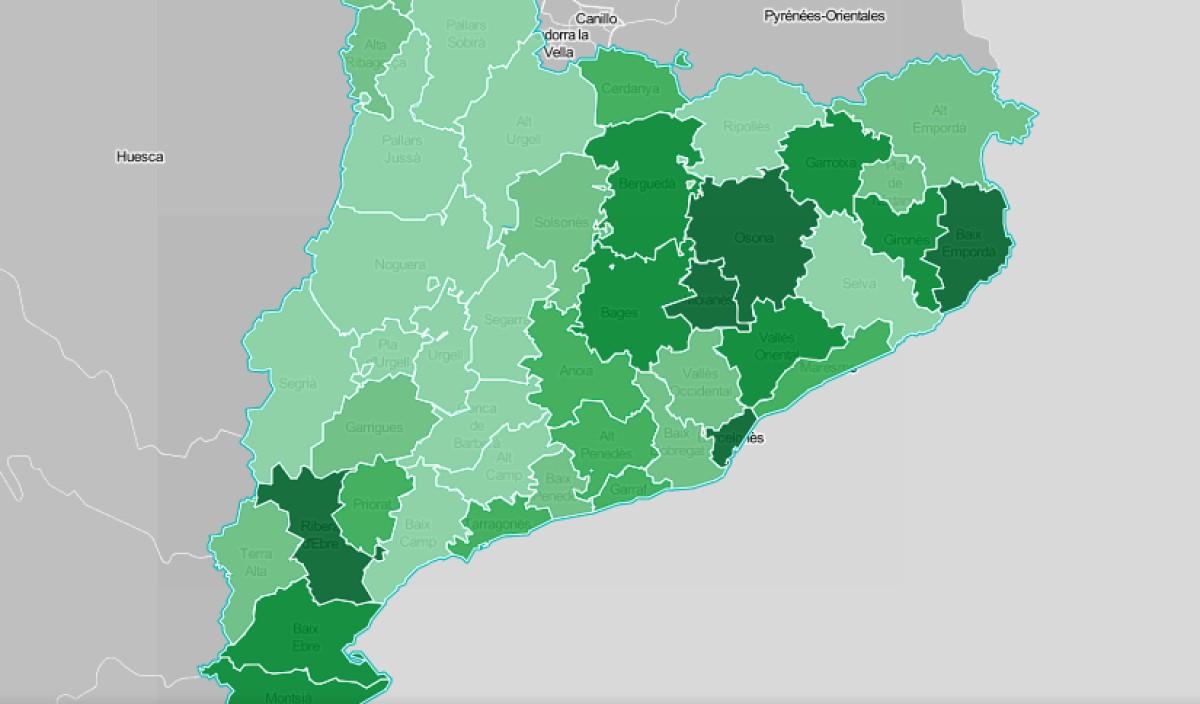 Mapa comarcal de Catalunya, segona la intensitat del medi ambient com a problemàtica.