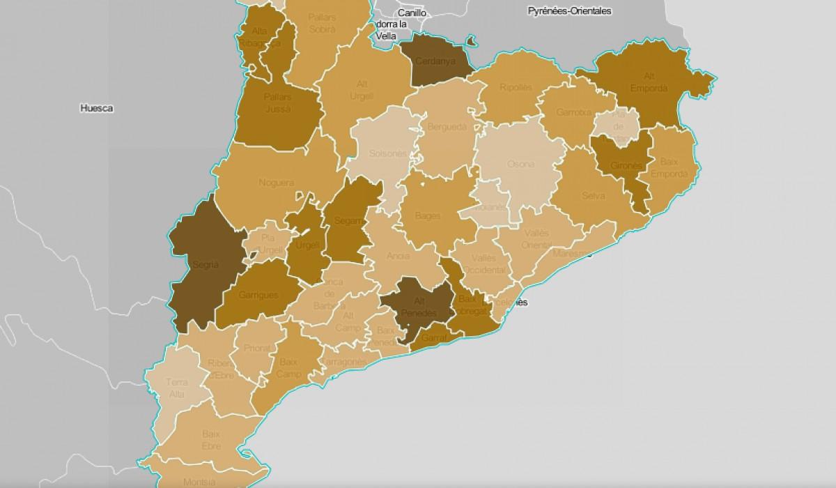 Mapa comarcal de Catalunya, segona la intensitat del petit comerç com a problemàtica.