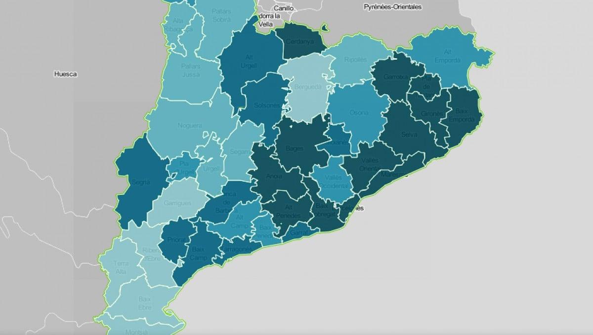 Mapa comarcal de Catalunya, segona la intensitat de l'habitatge com a problemàtica.
