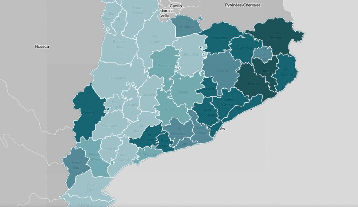 Mapa comarcal de Catalunya, segona la intensitat de la seguretat com a problemàtica.