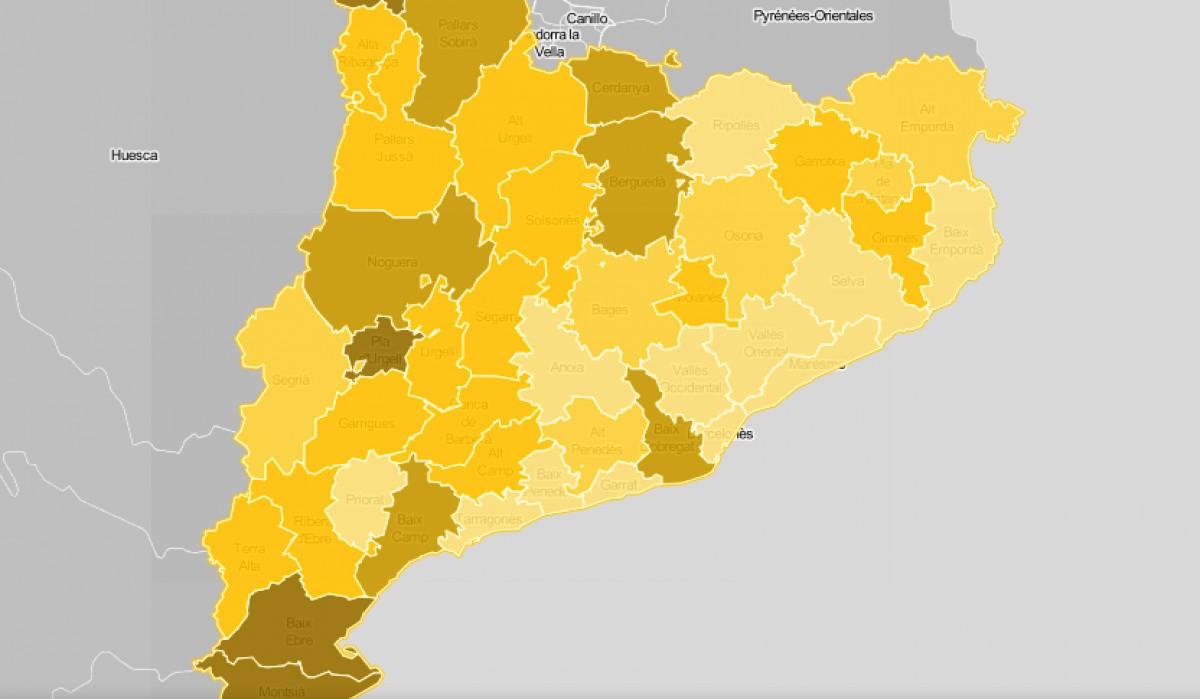 Mapa comarcal de Catalunya, segona la intensitat de la crisi de la pagesia com a problemàtica.