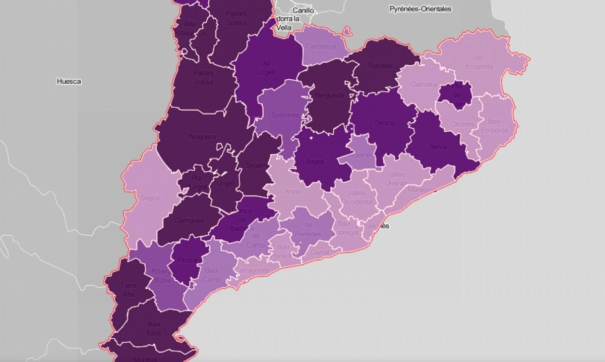 Mapa comarcal de Catalunya, segona la intensitat del despoblament com a problemàtica.