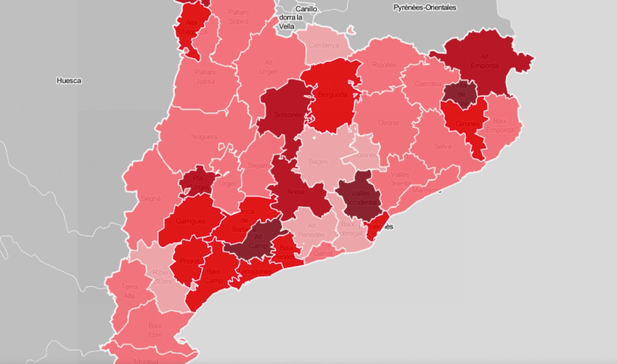 Mapa comarcal de Catalunya, segons la intensitat de l'ensenyament com a problemàtica