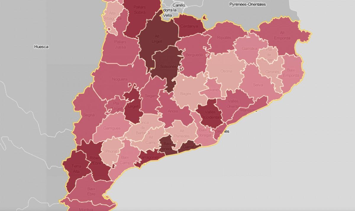 Mapa comarcal de Catalunya, segons la intensitat de la sanitat com a problemàtica