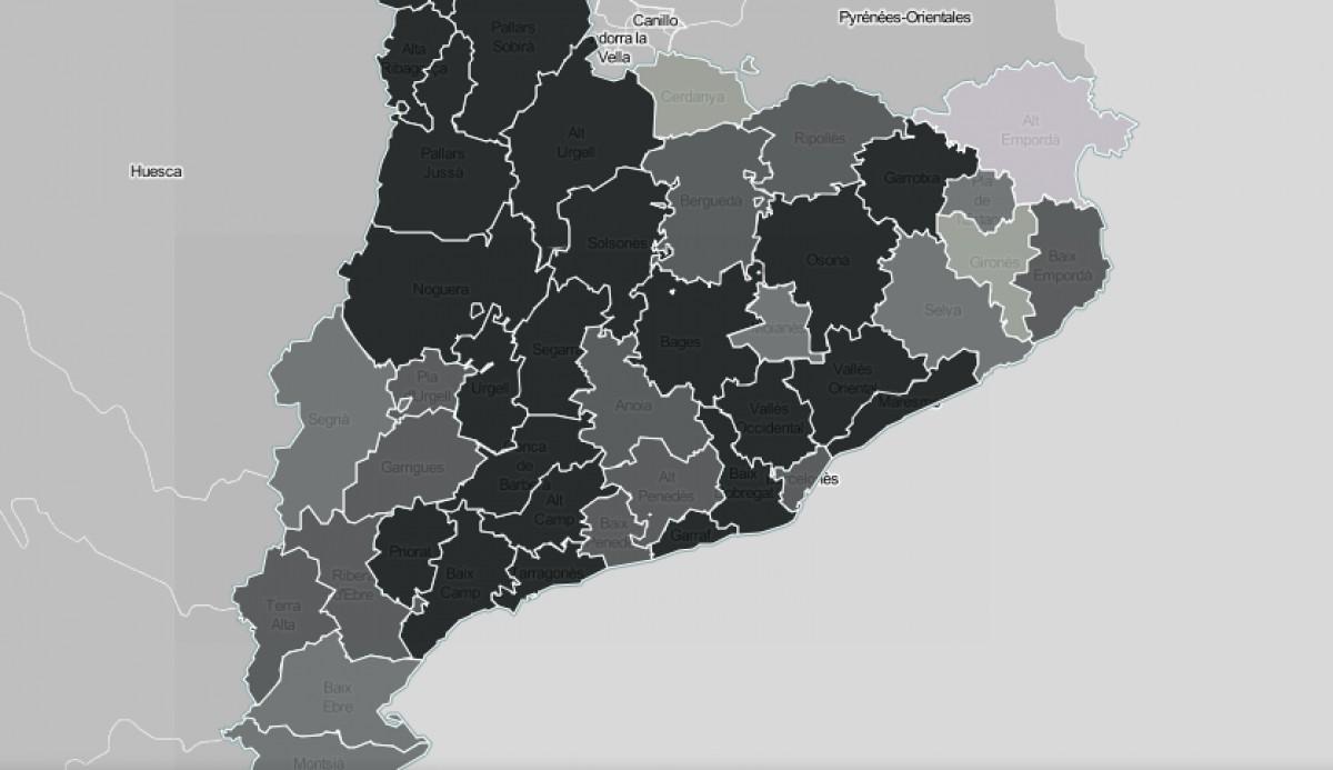 Mapa comarcal de Catalunya, segons la intensitat de les infraestructures com a problemàtica