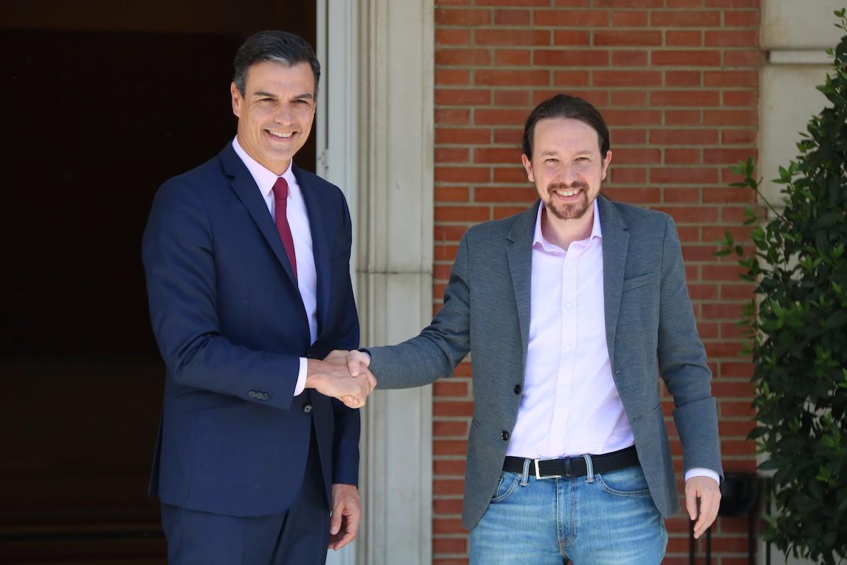 Pedro Sánchez i Pablo Iglesias, en una reunió al Palau de la Moncloa
